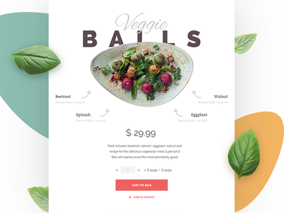 Food Store Component product vegetables meal shop organic cooking recipe ui ecommerce food