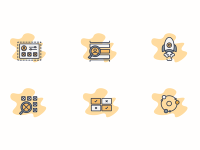 Flo Icons onboarding find search comparison connection rocket growth launch customization icon set startup icons