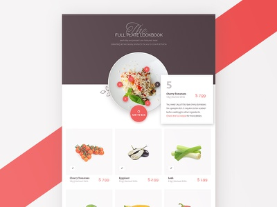 Foodly Lookbook Screen plate organic shop store grocery product cuisine recipe food lookbook ecommerce ui