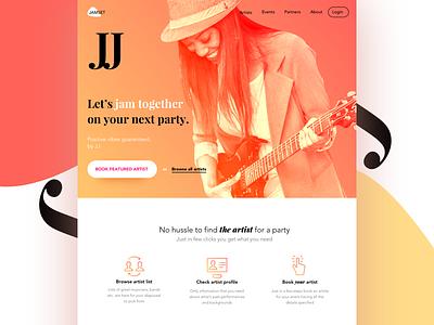 Jamset typography sketchapp webdesign ux profile musician artist booking landing page band music ui