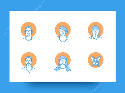 Secret Stache Team developers frenchie staff crew team vector avatar outline illustration portrait