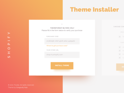 Foodly Theme Installer for Shopify verification ecommerce stages card steps board install process shopify theme shopify product design ui ux