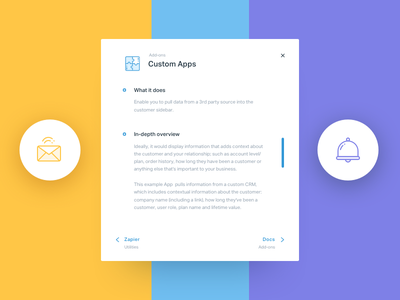 Overlay Module custom icons puzzle record notification email bell sketch ui card popup overlay module ui
