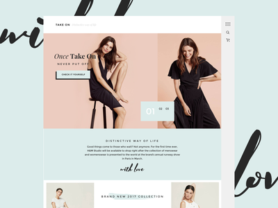 Take On Homepage Concept typography homepage minimal clothes fashion store lookbook vogue fashion online store shopify shopify theme ecommerce