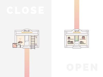 Documentation Illustration outline vendor renovation open close store boutique ecommerce online shop shop vector illustration