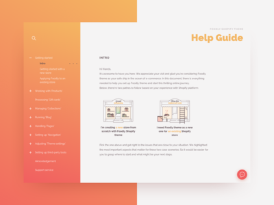 Intro screen. Code or not to code? ecommerce user interface web illustration themeforest gradient help guide help shopify theme shopify ui documentation