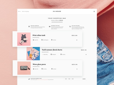 Inhouse Shopping Cart product card interface unwind delight eshop online store ecommerce checkout ux ui shopping cart fashion