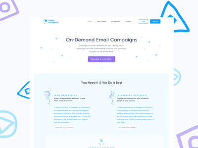 Landing Page for Marketers email outreach services real project illustration landing page startup marketing site webdesign website ux ui