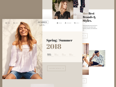 DD Homepage online store brands slider homepage feminine lifestyle elegant fashion ecommerce shop store ui
