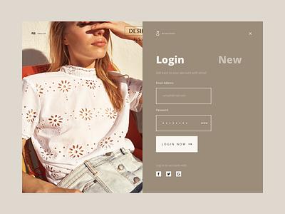DD Login Ecommerce online store brands registration login feminine signin elegant fashion ecommerce shop store ui