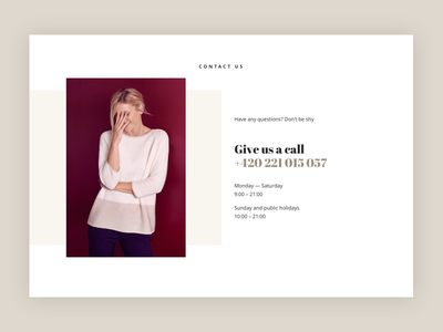 DD Contact Page online store apparel get in touch phone number feminine contact elegant fashion ecommerce shop store ui