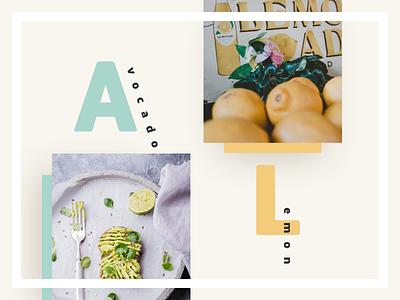 Cafe Story Exploration about lemon avocado food restaurant local cafe cafe grid layout typography webdesign ui