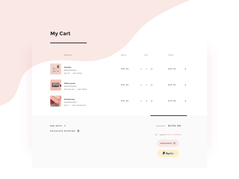 Shopping cart shopping bag fashion total soft delicate paypal checkout layout minimal shopify shopping cart store ecommerce shop cart