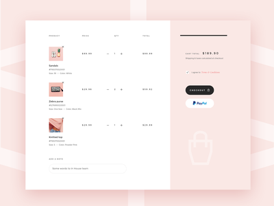 Shopping cart V2 ui kit shopify theme products line stripe simple delicate soft minimal layout paypal checkout shopify store ux ui ecommerce shopping cart shop