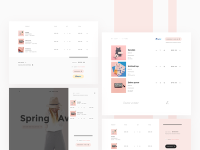 Shopping cart variations checkout process checkout paypal minimal soft delicate ui kit ui apparel fashion shopping bag shopify theme shopify shopping cart store ecommerce shop
