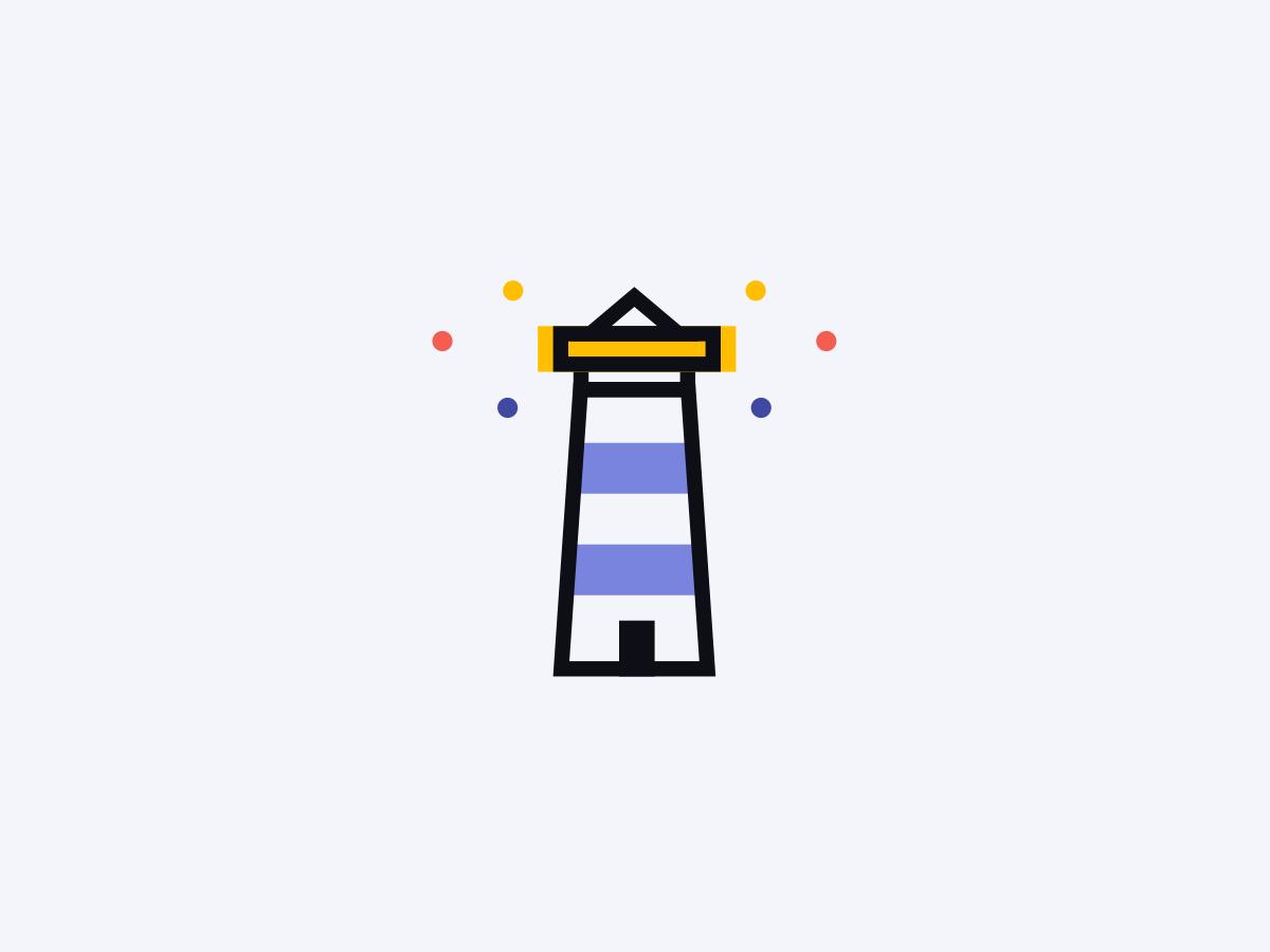 Lighthouse minimal icon light dots illustration geometric illustration icon lighthouse