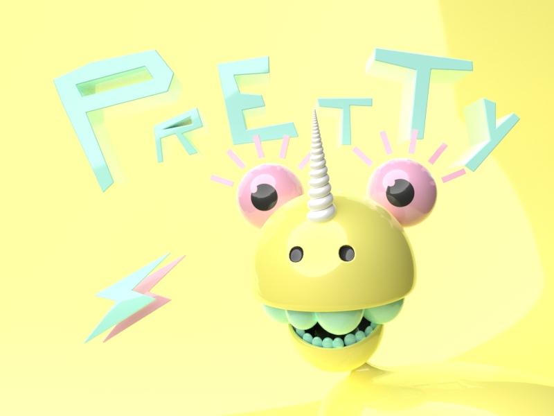 Pretty Unicorn blender illustration character design 3d