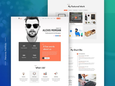 Personal Portfolio typography app branding flat web ux ui resume design personal portfolio best website 2018