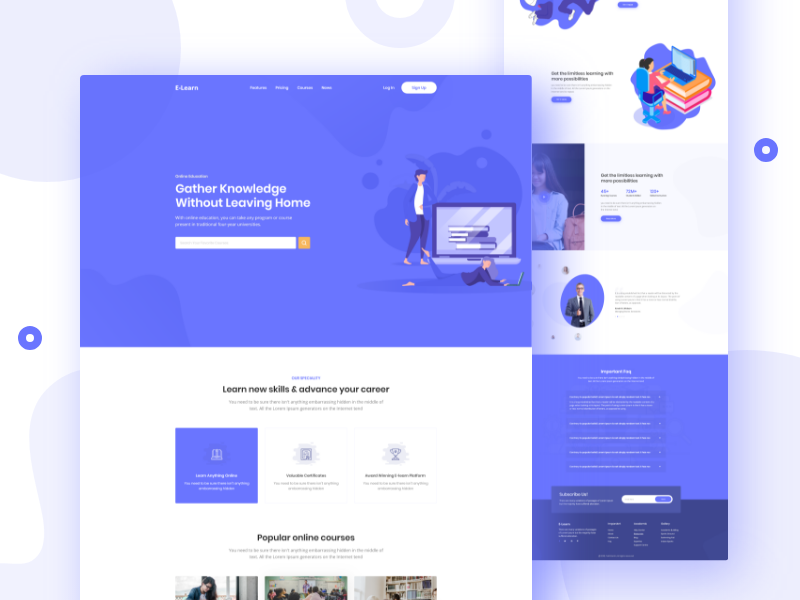Education Landing Page vector web education website typhography ui-ux color minimal illustration landingpage education design