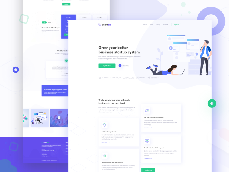 Agency Home Page website animation logo landing page isometric first shot flat color branding typography app vector web ux ui minimal illustration design