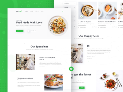 Cafe360 - Restaurant Landing Home 2019 trend restaurant website flat best website 2018 animation landing page isometric first shot color illustration branding app vector ui ux typography minimal web design