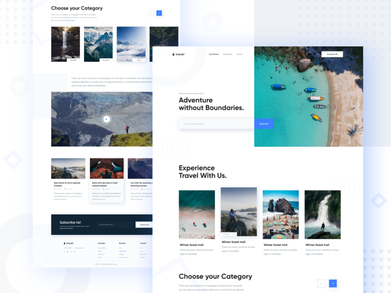 Travel Site Concept - Landing branding trend 2019 website best website 2018 design animation first shot color web minimal typography ux ui motion landing page parallax mountains travel agency travel travel landing