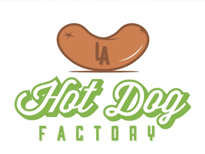 LA Hotdog Factory logo design hotdog la illustration