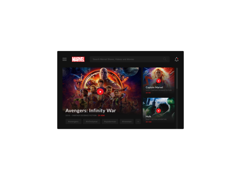 Daily UI Challenge #025 - TV App dark app captain marvel spider man avengers marvel comics marvelcomics marvel app branding tv design tv series tv shows tvm daily challange ui design daily 100 challenge daily 100 dailui app adobe xd