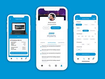 Business Partner App for HP responsive product finder salesapp b2b app concept app ui mockup flat design
