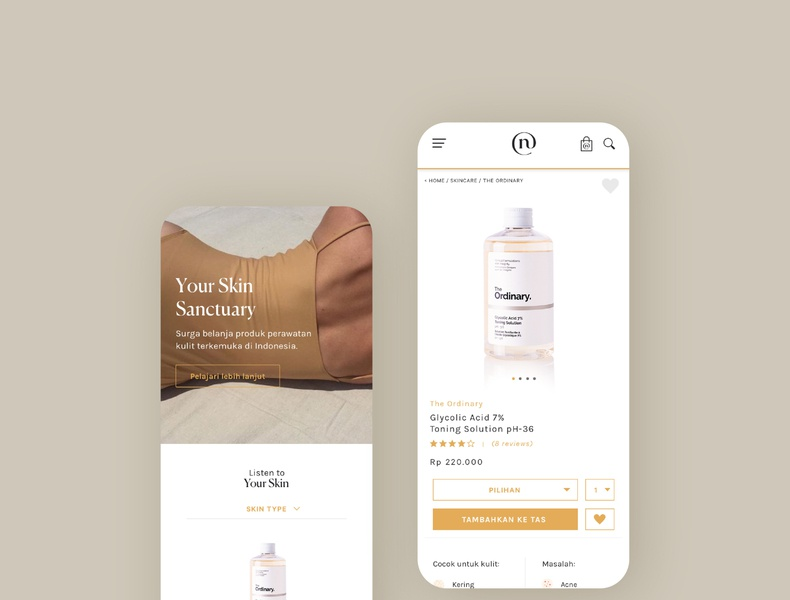 Product Detail Page for Neuffa - Skin Care E-Commerce homepage skincare web uidesigner uxdesign uidesign website design web design website e-commerce ux ui product page