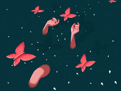 in the water hand hands butterfly river water girl illustration art color design
