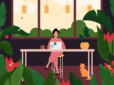 work from home light flowers remotework work job cat plants home vector girl illustration art color design
