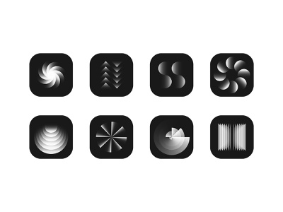 shapes exploration graphic geometric icon illustration gradient shape concept circle black  white app icon logo composition icons vector design