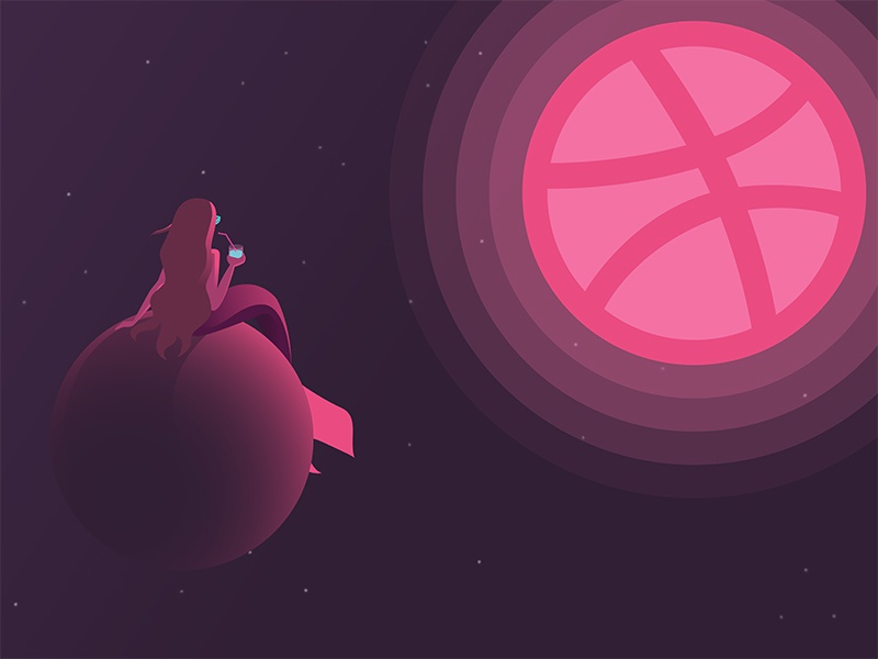 Hello Dribbble! planet mermaid space debut firstshot vector design illustration