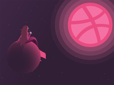 Hello Dribbble! planet mermaid space debut firstshot vector design illustration