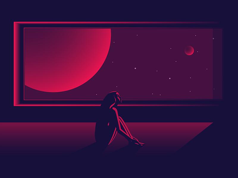 pink space window stars star planet space light girl dark color art illustration design