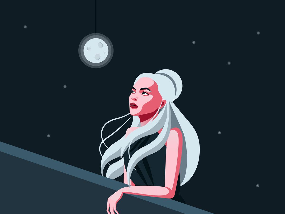 talking to the moon stars night moon vector light girl space illustration color art design