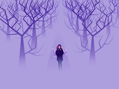 healing graphic flowers trees forest fog vector design girl color art illustration
