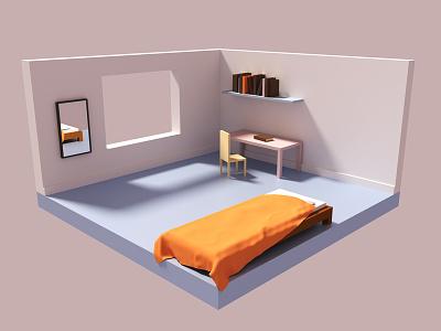 Low Poly Room blender room low poly 3d