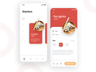 Gyōza navbar red tiles cards mobile minimalist app delivery food clean user interface ux ui design ui