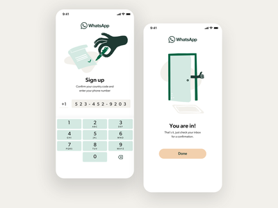 WhatsApp redesign – Create an account procreate uxdesign redesign number phone sign up sign in create account signup chat whatsapp illustration app design minimal clean ux ui mobile app