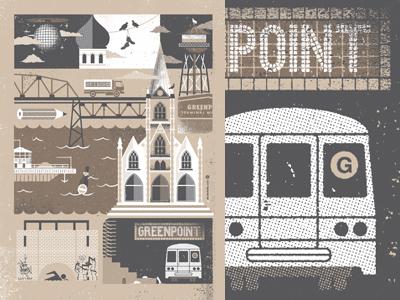 Brooklyn Neighborhood series illustration poster art print