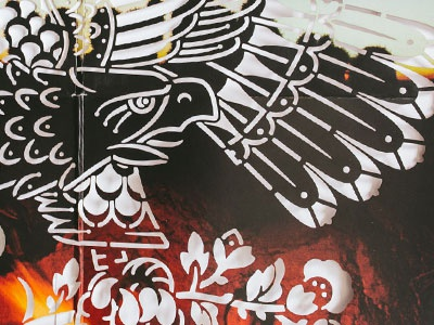 The Eagle Has Landed - Again   eagle diecut album illustration fattylines lasers lp