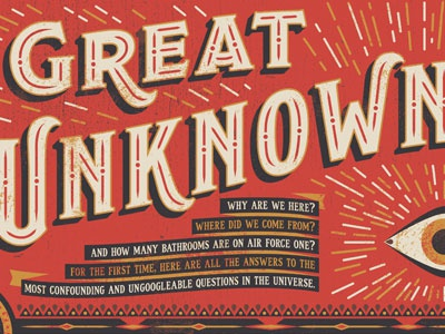 Great Unknowns eye fortune teller vintage texture lettering type illustration editorial