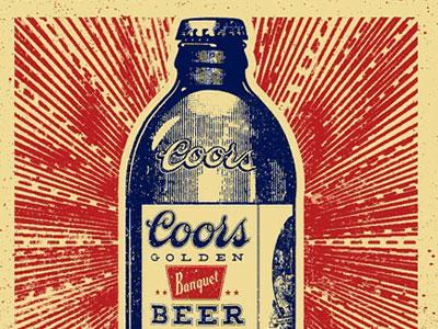 Coors Banquet  Stubby Bottle vintage woodblock illustration engraving beer coors