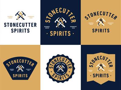 Stonecutter Spirits Branding illustration vector tools gin spirits logo branding