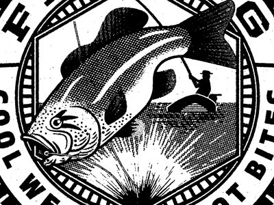 Outdoor Badges hooked up fish on bass illustration editorial badge fishing