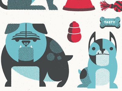 Bullies! bulldog illustration fab sale screen print mans best friends