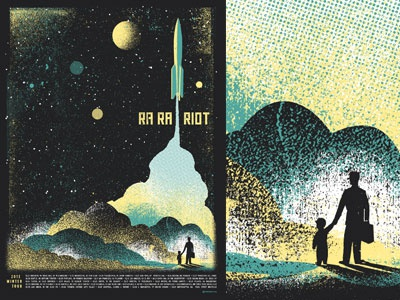 Ra Ra Rocket screenprint smoke texture tour poster rocket