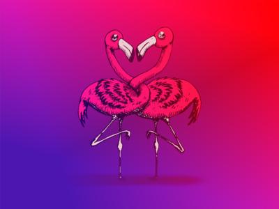 Inktober 2017 Flamingos